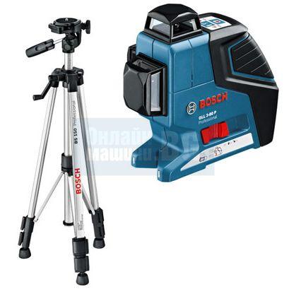 Линеен лазер Bosch GLL 2-80 P /със статив BS 150, до 80 метра/