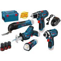 Комплект професионални акумулаторни машини Bosch GSR 10.8-2-Li, GDR, GSA, GOP, GLI-10.8 V-Li