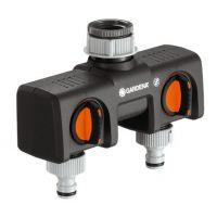 Двупътен адаптер за кран GARDENA /приставка с две разклонения/