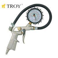 Пневматичен пистолет за помпане на гуми с манометър TROY T 18604 / 10 bar, 1/4'' /