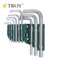 Комплект шестограмни ключове TROY T 26201 / 1.5 - 10 мм., 9 броя /