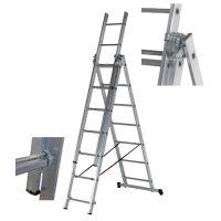 Алуминиева стълба Djodi Trade / 3 сектора по 9 стъпала , 2.60-5.40 м /