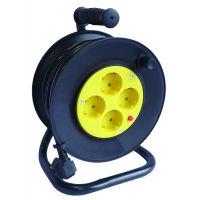 Макара с разклонител KONEKTO с 4 гнезда, със защита от прегряване и кабел / 25 метра , 3200W /