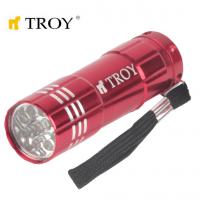 Ръчен фенер 3 броя батерии тип ААА TROY T 28095 / 9 броя светодиоди /