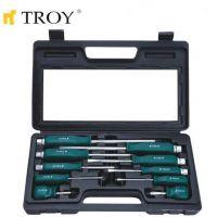 Комплект професионални ударни отвертки TROY T 22307, 10 броя