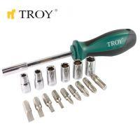 Комплект ръкохватка с битове и вложки TROY T 22316, 16 броя