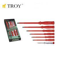 Комплект професионални изолирани отвертки TROY T 22300, 7 броя