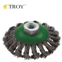 Конусна плетена телена четка TROY T 27705-100 / 100 мм. xM14 /