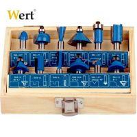 Комплекти фрезни накрайници за дърво Wert Ф 8 мм, 12 бр