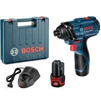 Акумулаторен ударен гайковерт Bosch GDR 120-LI / 100 Nm ,12 V Li-ion , 1.5 Ah , 2 батерии, зарядно и куфар /