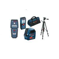 Нивелир лазерен линеен Bosch GLL 2-10 Professional + Детектор Bosch GMS 120 + Ролетка лазерна Bosch GLM 40 + Тринога Bosch BT 150 + Чанта