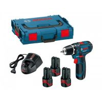 Акумулаторен винтоверт Bosch GSR 12V-15 + 3-та батерия 2.0 Ah + Lbox