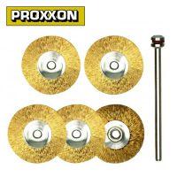 Комплект дискообразни четки с месингов косъм PROXXON PRXN 28962 /5 броя, 22 мм./