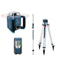 Ротационен лазарен нивелир Bosch GRL 400 H / 20 м , ± 0.08 мм/м , BT 170 HD Статив , GR 240 Лата /