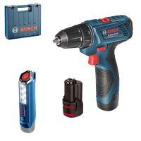 Комплект акумулаторен винтоверт Bosch GSR 120-Li и акумулаторна лампа Bosch GLI 12V-300 / 12 V , 2 x 1,5 Ah  /