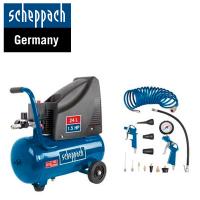 Електрически компресор Scheppach HC25o  / 1100 W , 24 l  , 8 bar + к-кт аксесоари /