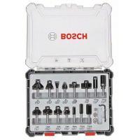 Комплект фрезери за оберфреза, смесени Bosch / 8 mm опашка, 15 броя/