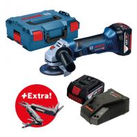 Акумулаторен ъглошлайф Bosch GWS 18-125 V-Li / 18 V, 2 x GBA 18V 4.0Ah, зарядно, куфар/+ Мултифункционален инструмент Swiss Peak Professional