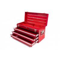 Куфар за инструменти метален с 3 чекмеджета HBM Profi Toolbox / 534 х 218 х 287 mm, червен /