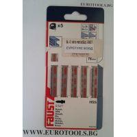 Комплект ножчета за прободен трион - зеге BLACK&DECKER FAUST 76 мм,x 1,5-4 mm / T ЗАХВАТ, 5 бр /
