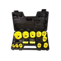 Комплект биметални боркорони за дърво и метал Geko G39998  /19 - 76 мм, 17 части/