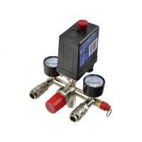 Комплект пресостат за компресор с бързи връзки и манометри GEKO G80306 /230 V, 12 bar/