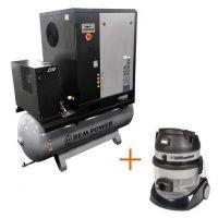 Винтов компресор с ресивър, изсушител и ремъчна предавка REM Power EPM 2004/10/500 DR IE3 + електрическа прахосмукачка REM Power HC 2850 Plus