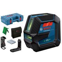Лазерен нивелир със зелен лъч Bosch GLL 2-15 G, 15 м + 4 батерии (АА), държач за таван DK 10 Professional и куфар за инструменти