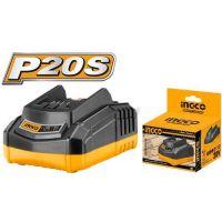 Интелигентно бързозареждащо зарядно устройство INGCO FCLI2001E, 20 V, 2 A
