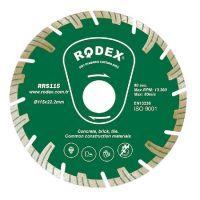 Диамантен диск за сухо рязане RODEX, Turbo, висок сегмент, 125 мм