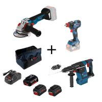 Акумулаторен перфоратор Bosch GBH 18V-26 + акумулаторен гайковерт GDX 18V-200 C + акумулаторен ъглошлайф GWS 18V-10 + 2 батерии ProCore 8 Ah+ 1 батерия 6 Ah, бързо зарядно устройсво GAL 1880 и чанта за инструменти