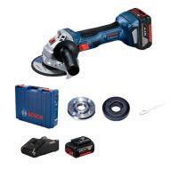 Акумулаторен ъглошлайф Bosch GWS 180-LI Professional, 125 мм, с 2 батерии GBA 18 V, 4.0 Ah, зарядно и куфар