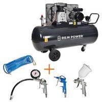 Компресор с електродвигател REM Power E 500/10/200, 364 л/ мин + комплект пневматични инструменти REM Power KIT 4S