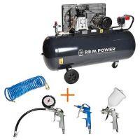 Компресор с електродвигател REM Power E 500/9/270, 480 л/ мин, 9 бара + комплект пневматични инструменти REM Power KIT 4S