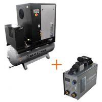 Винтов компресор REM Power EPM 2004/10/500 DR IE3, 10 бара, 2050 л/мин + инверторен електрожен MMA DC REM Power WMEm 150, 140 А