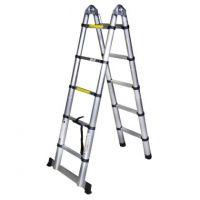 Двойна алуминиева телескопична стълба Bisonte STR3032, 2х5, до 150 кг