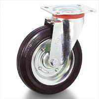 Колело Tellure Rota промишлено завиващо с планка метално с каучуков бандаж 100 мм, 80 кг, Series 53