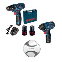 Акумулаторен винтоверт Bosch GSR 120-LI + Акумулаторен ударен гайковерт GDR 120-LI, 12 V, с 2 батерии, зарядно и куфар