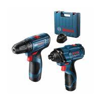 Акумулаторен винтоверт Bosch GSR 120-LI + Акумулаторен ударен гайковерт GDR 120-LI, 12 V, с 2 х 2Ah батерии, зарядно и куфар