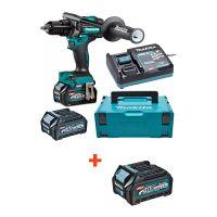 Професионален акумулаторен винтоверт Makita DF001GM201, 40 V, 4 Ah, с 2 батерии и зарядно + батерия Makita BL4025, XGT, 40 V, 2.5 Ah