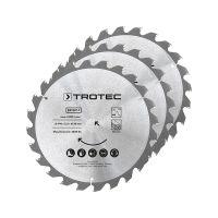 Комплект дискове за циркуляр за дърво TROTEC, 24 зъба, Ø 190 мм, 3 броя