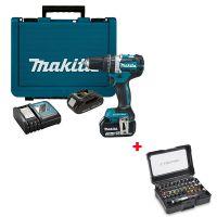 Акумулаторен безчетков ударен винтоверт Makita DHP484RX4, 18 V, 54 Nm, 3 Ah + 1.5 Ah, с 2 батерии и зарядно