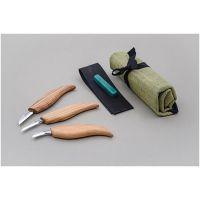 Комплект ножове за дърворезба BeaverCraft S06, 3 броя, с калъф и аксесоари