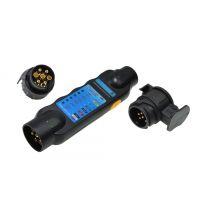 Тестер за електроинсталация на ремарке GEKO G02331, с адаптери 13/7 7/13, баз батерии