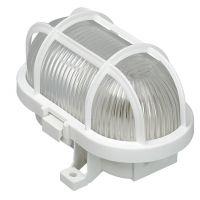 Промишлена лампа за мокри помещения тип плафониера AS-Schwabe, 60 W, 178 мм, бял