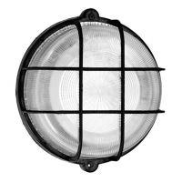 Промишлена лампа за мокри помещения тип плафониера AS-Schwabe, 100 W, 200 мм, черен