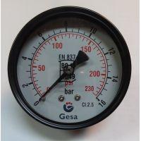 Манометър с резба GESA /16 bar, ф 63 мм, аксиален 1/4\
