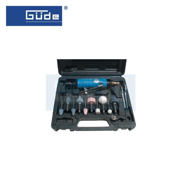 Комплект пневматичен прав шлайф за гравиране и шлайфане GUDE 40032 / 15 части , 1/4'' , 6 bar , Ø 3 мм /