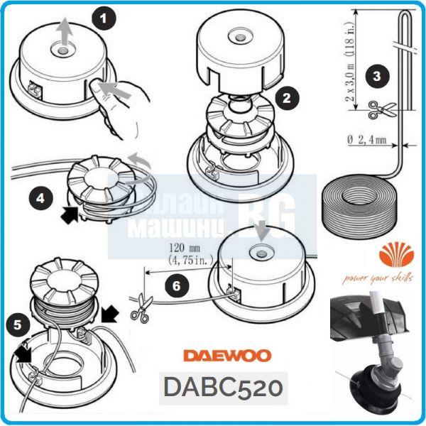 Бензинов тример DAEWOO DBC520 / 2,2kW/3HP, 52cc