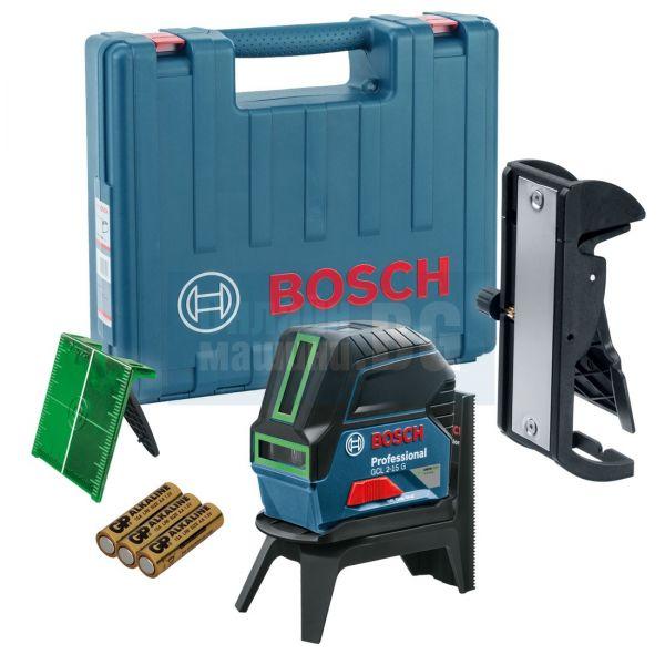 Линеен лазер Bosch GCL 2-15 G + Стойка RM 1 + Таванна скоба + Куфар